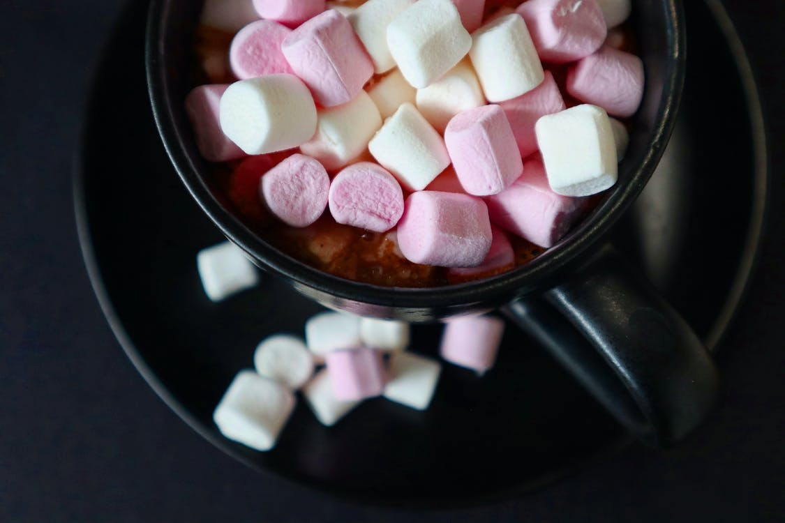 Close-Up Shot of a Drink Topped with Marshmallows