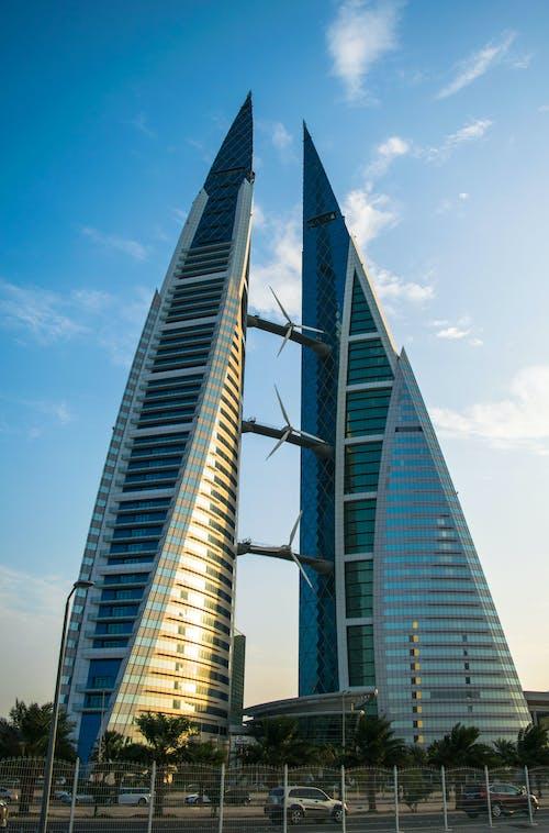 Free stock photo of architecture, bahrain world trade center, blue sky