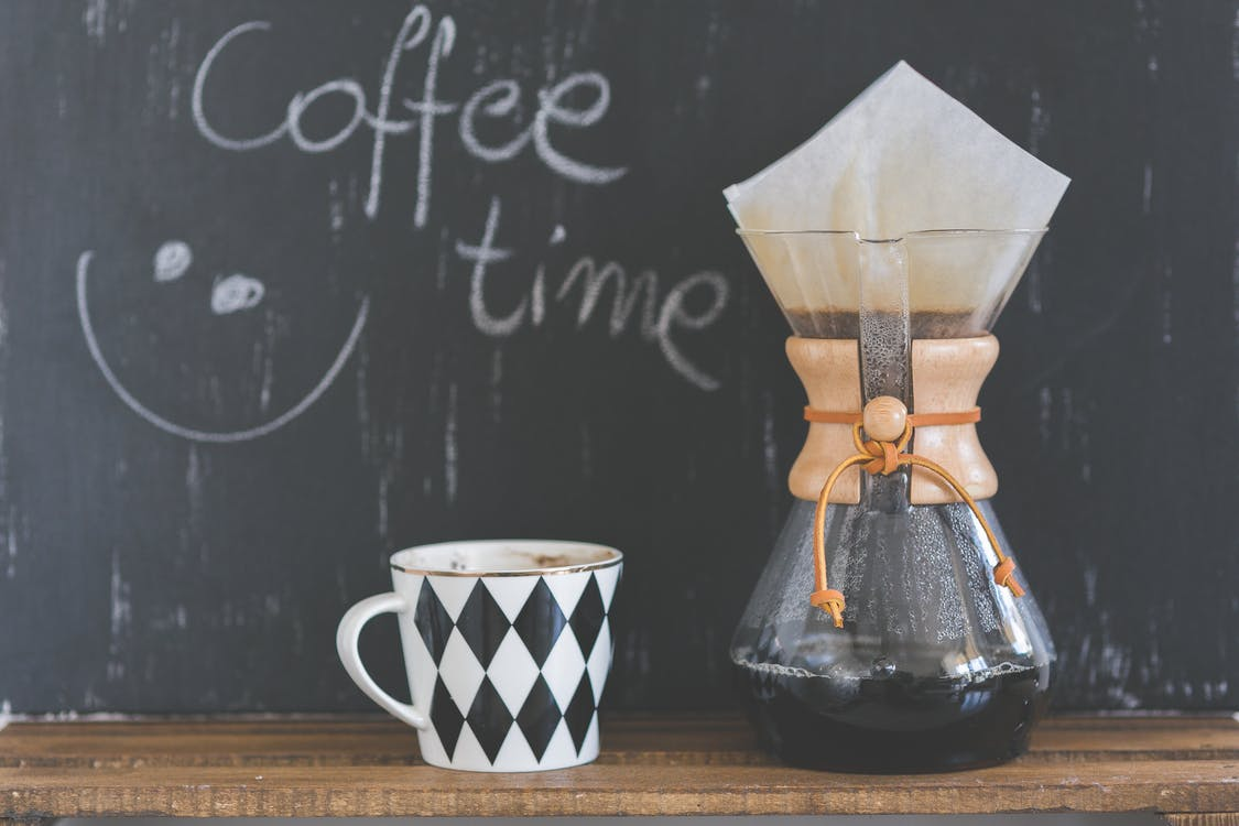 Coffee time sentence, cup of coffee and Chemex