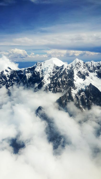 Aerial View of Mountain With Snow