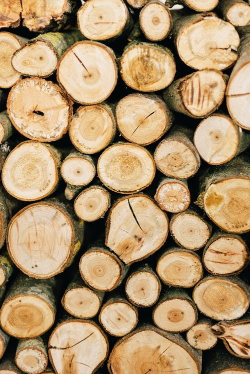 Pile of firewood of various sizes with scratches stacked together as abstract background