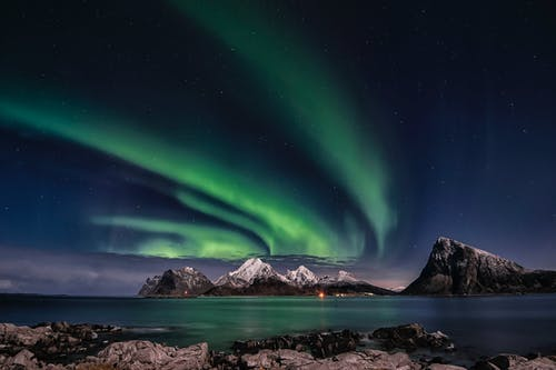 The Northern Lights Above Mountains