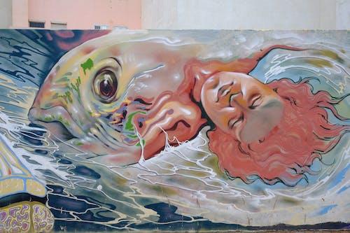 Free stock photo of fish, street, street art