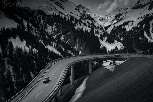 Foto d'estoc gratuïta de alps, Àustria, blanc i negre, carretera