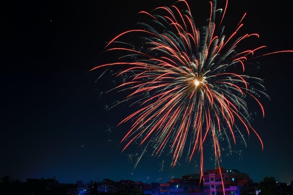 Fireworks Display over Building