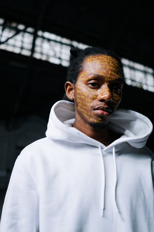 Man's Face Covered With Words