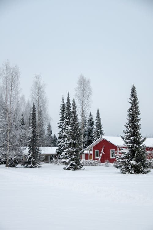 Red and White House on Snow Covered Ground