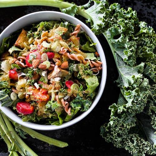Vegetable Salad in Black Bowl