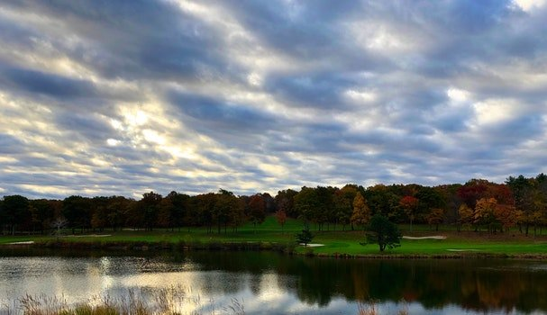 Free stock photo of clouds, golf, fall foliage, autumn colours