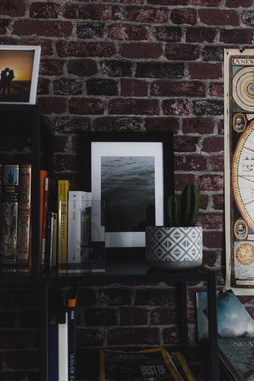 Photo of sea on shelf with books at home