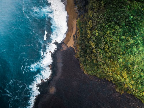 Top view of azure sea with foamy waves rolling shore with dense woodland with green trees in nature in tropical country