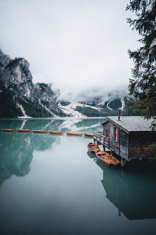 Free stock photo of boat, dolomites, fog