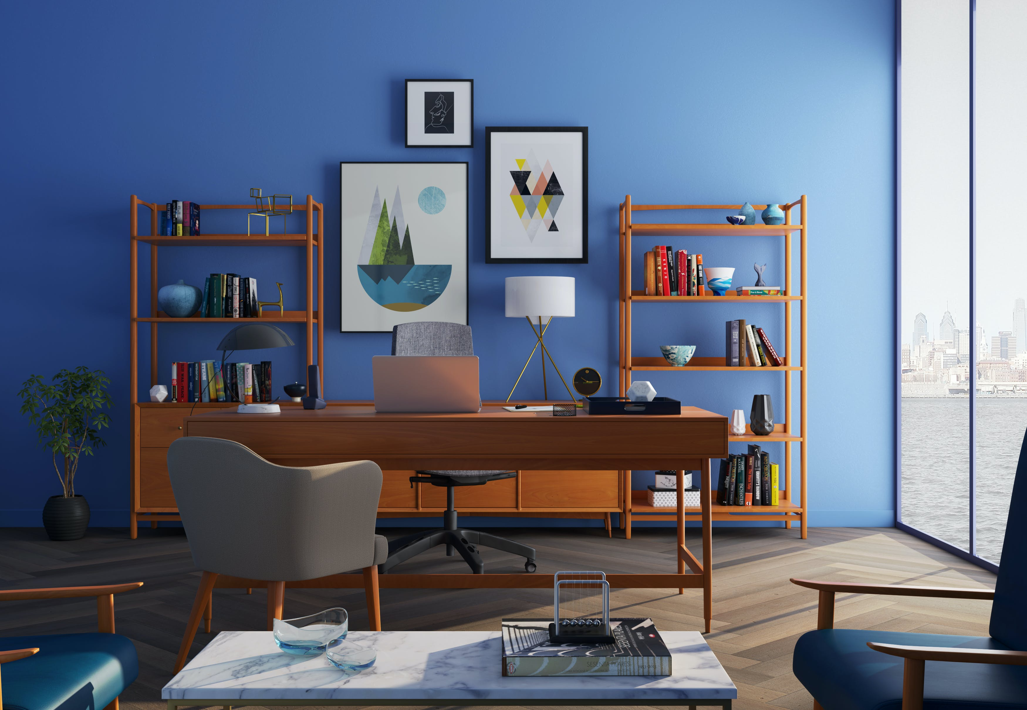 office blue. Brown Wooden Desk With Rolling Chair And Shelves Near Window Office Blue S