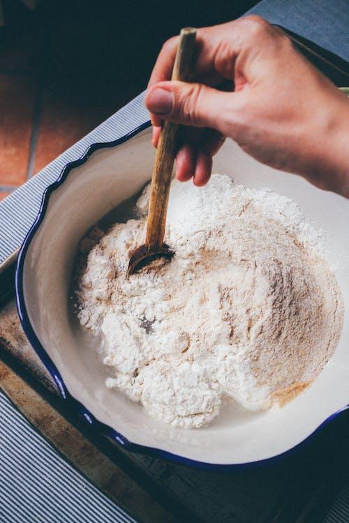 White Powder on Blue Ceramic Bowl