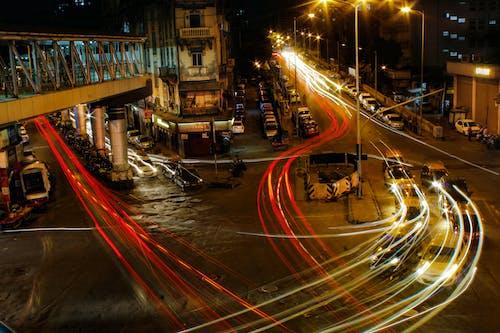 Foto profissional grátis de exposição longa, faróis, rastro de luz