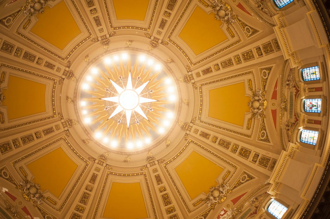 Free stock photo of cathedral, ceiling, ceiling lights