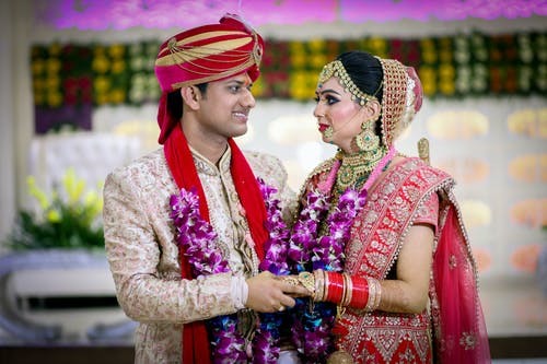 Happy Indian couple on tradition wedding ceremony