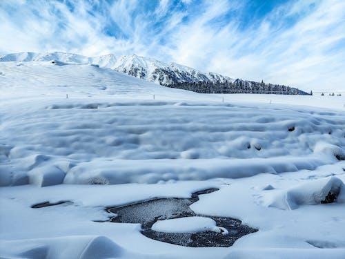 Snowy terrain near frozen lake