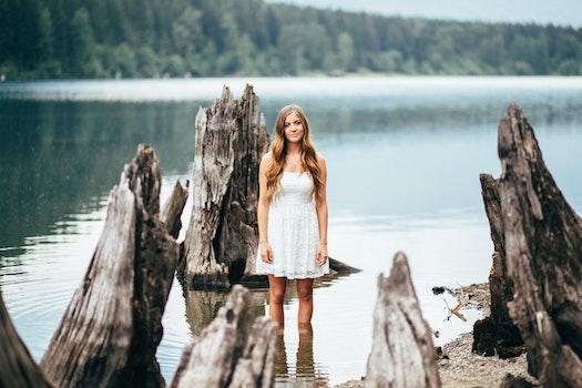 Free stock photo of person, woman, girl, lake