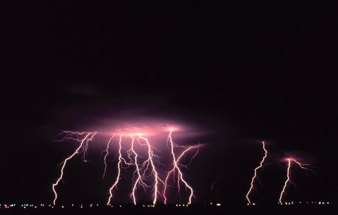 Purple Thunder Storm during Nighttime