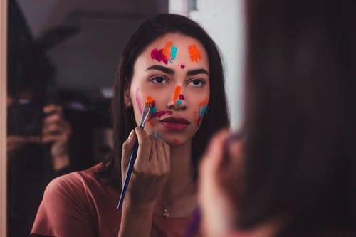 Free stock photo of black hair, brush, colorful painting