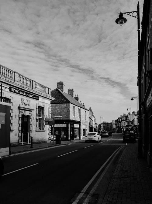 Grayscale Photo of a City Street
