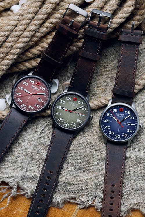 Black and Brown Leather Strap Analog Watch