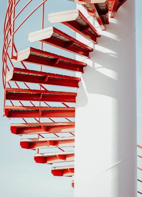 Red and White Spiral Stairs