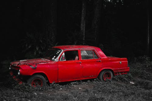 Old car with damaged bumper and broken window on grassy ground in forest