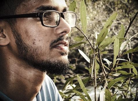Man Wearing Black Framed Eyeglasses