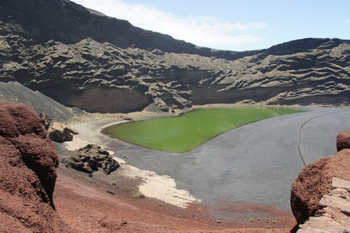 Free stock photo of green lake, lanzarote
