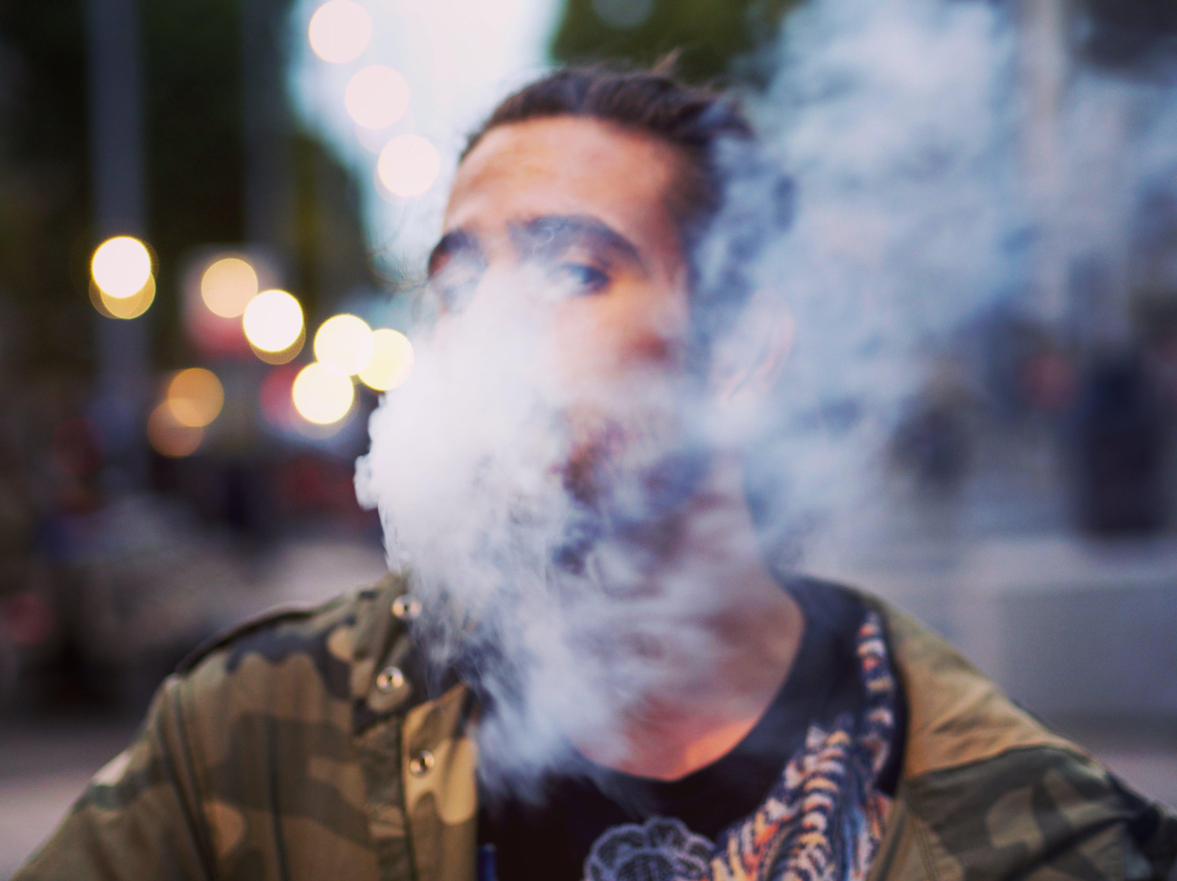 bokeh, portrait, smoke
