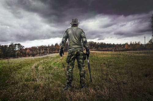 Man in Camouflage Suit Holding Shotgun