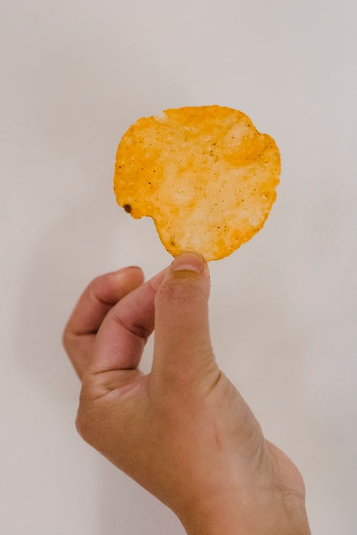 Closeup of hand with appetizing crispy potato crisp of rich orange color and round shape on gray backdrop