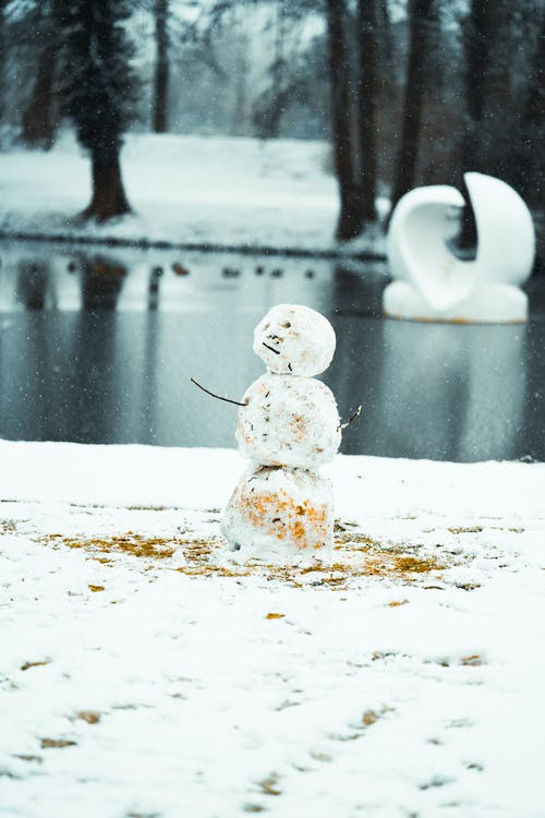 Snowman on snowy coast of lake in winter park with trees during snowfall