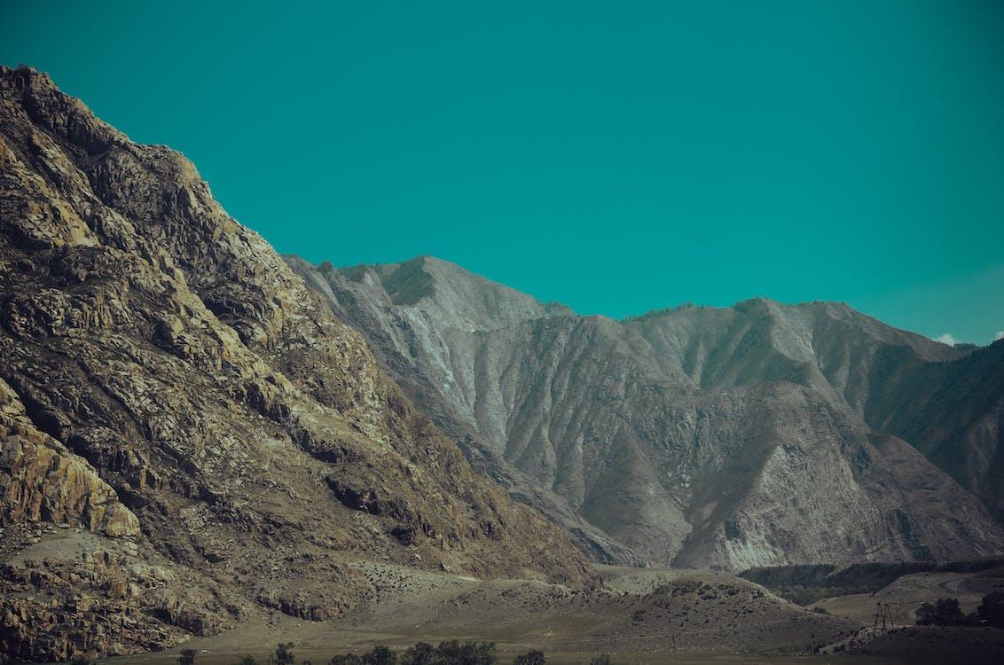 bjergene, himmel, landskab