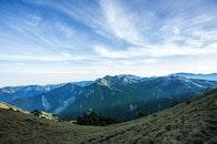 Landscape Photograph of Mountains Under Blue Cloudy Sky
