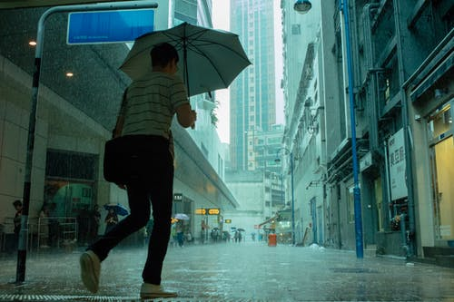 Free stock photo of building, hongkong, people, raining