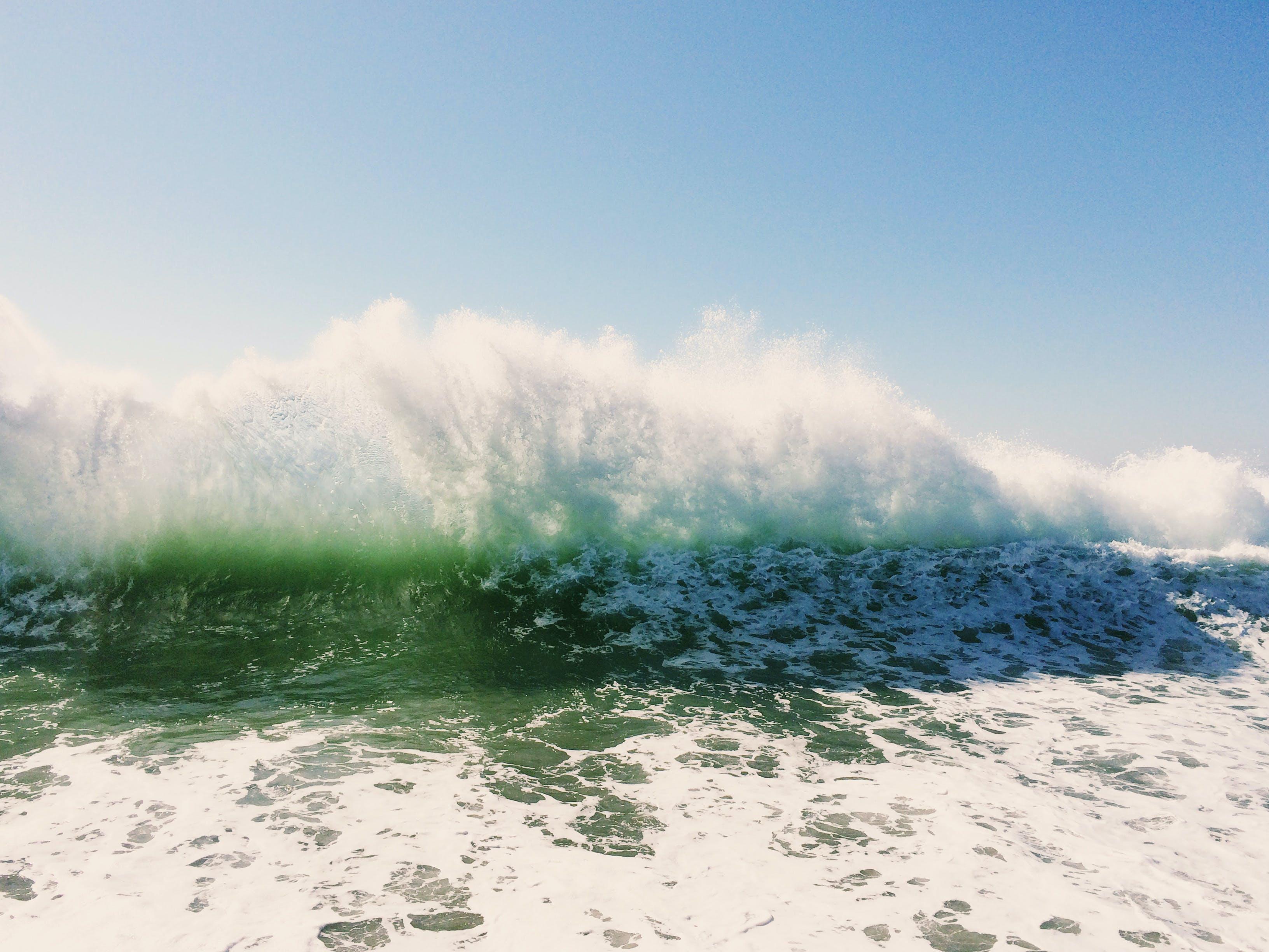 Sea Waves Under Blue Sky
