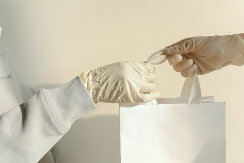 Fotos de stock gratuitas de blanco, bolsa de papel, guantes de latex