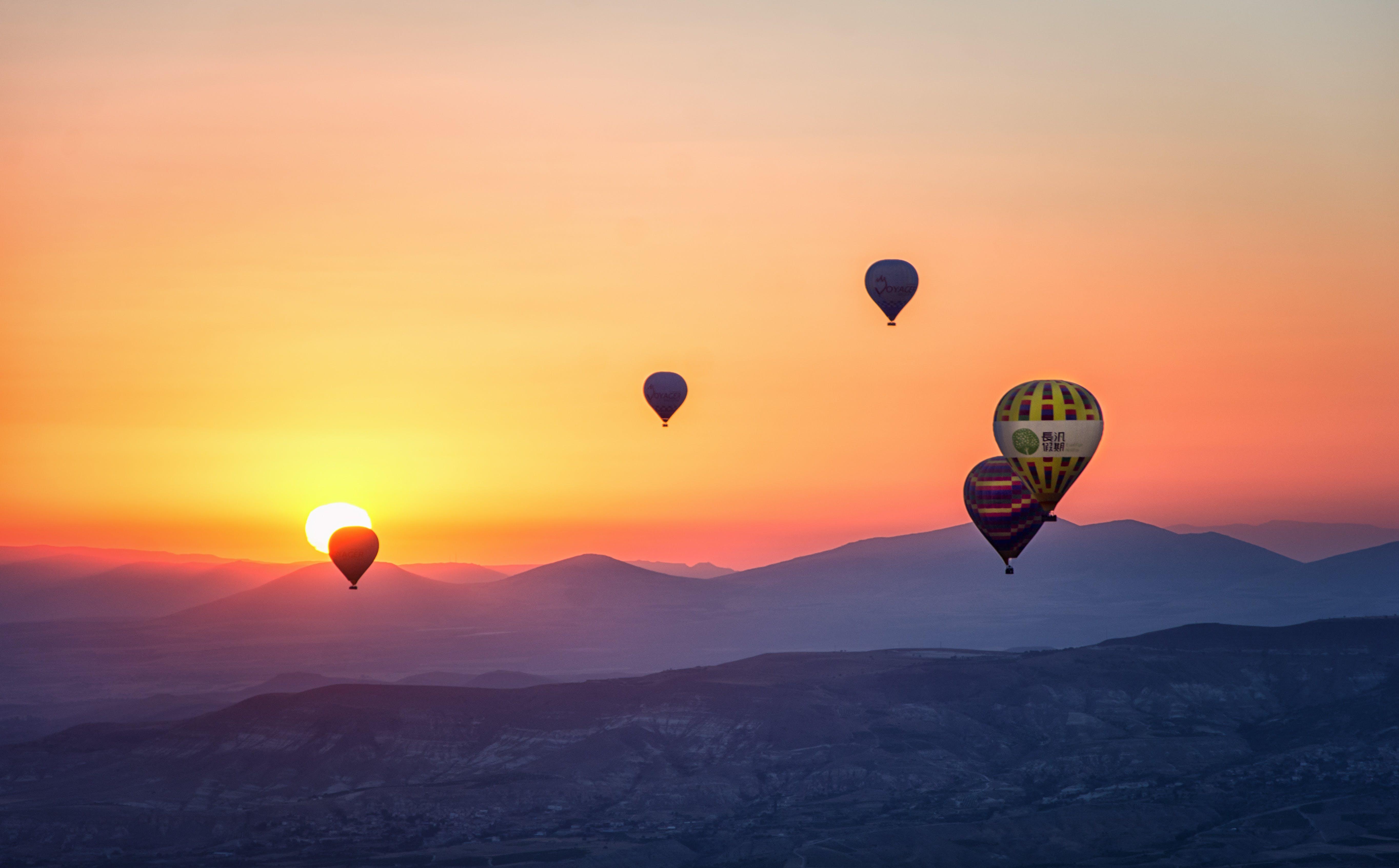 Kostenloses Stock Foto zu flug, dämmerung, landschaft, himmel