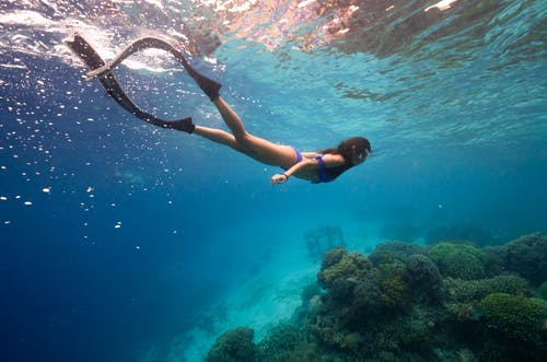 Side view of anonymous graceful female diver with long dark hair in swimwear and flippers enjoying diving under blue ocean near coral reefs on sunny day
