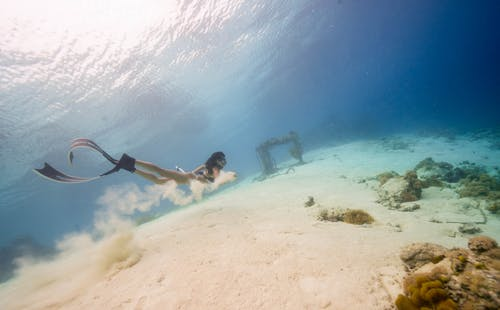 Faceless woman swimming underwater in sea near sand and corals