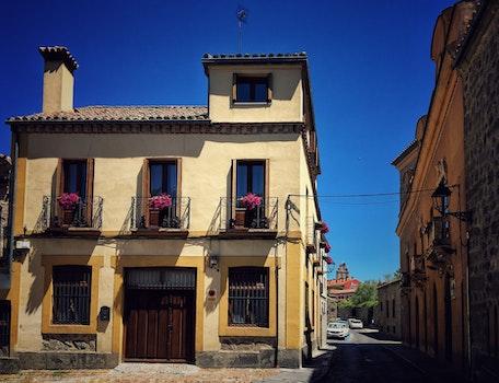 Free stock photo of street, summer, house, windows