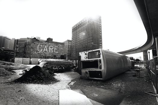 Free stock photo of black-and-white, city, train, metal