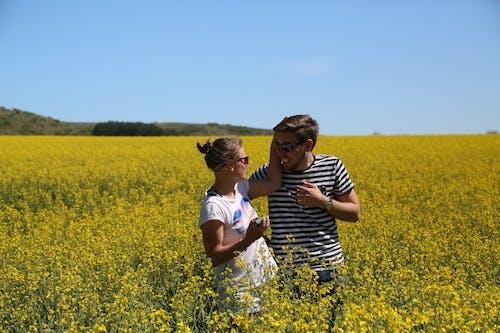 Gratis stockfoto met blauw, converseren, geel veld, glimlach