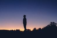 nature, sunset, man