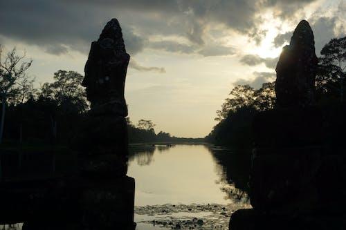 Free stock photo of cambodia, statue, sunset