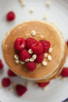 Free stock photo of food, breakfast, raspberries, pancakes