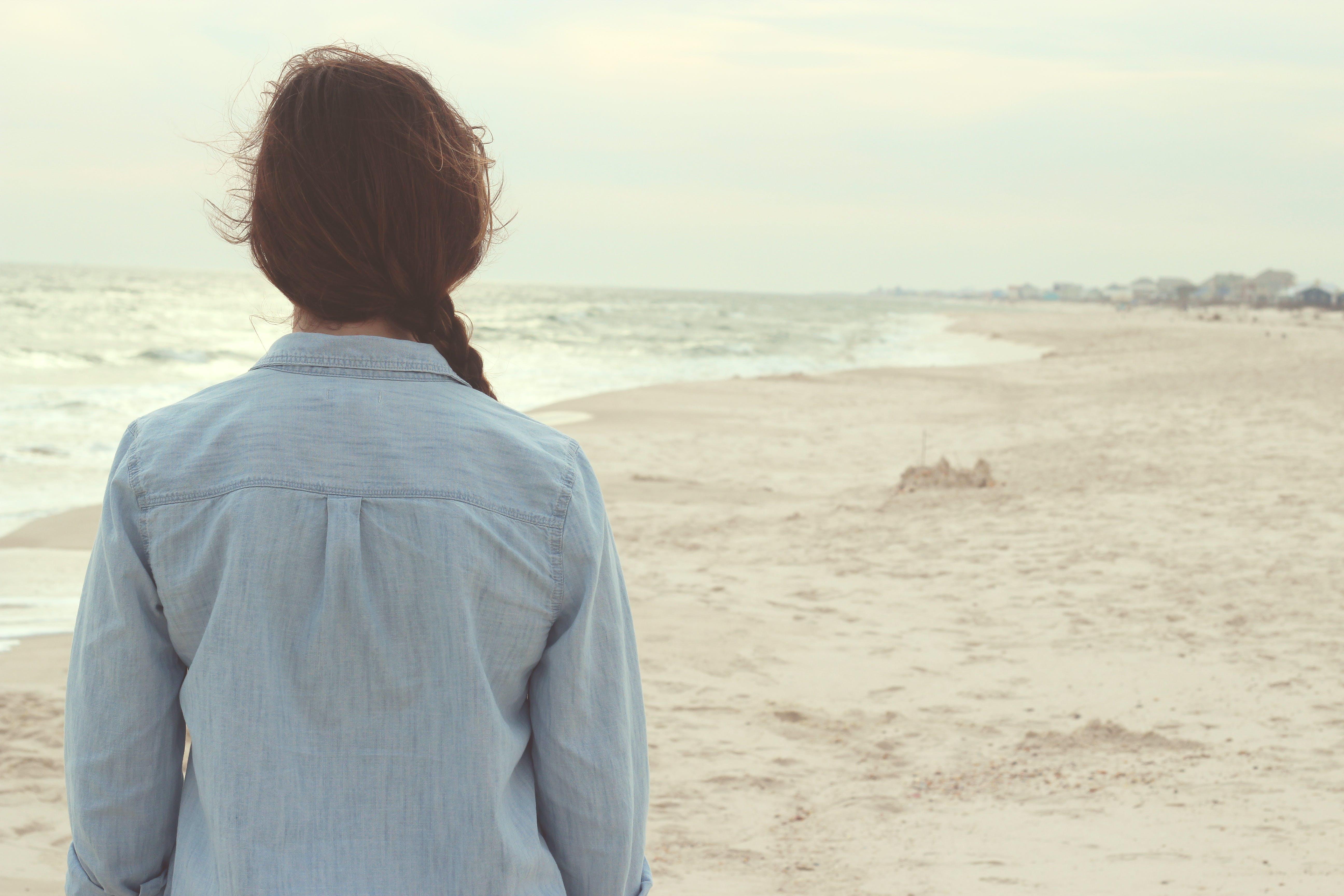 alone, back, beach